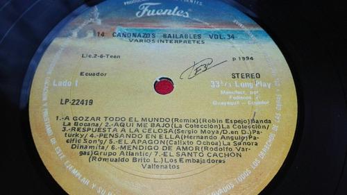 disco vinilo , 14 cañonazos bailables vol.34