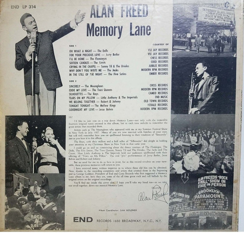 disco vinilo lp alan freed memory lane variado usa todelec