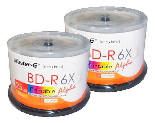 discos blu-ray imprimible 25gb master-g 50 unid.-6x