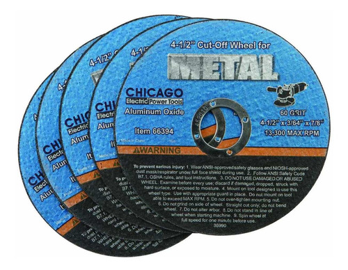 discos/ corte metal: kit/5 warrior/chicago 4 1/2'' 60 grit.