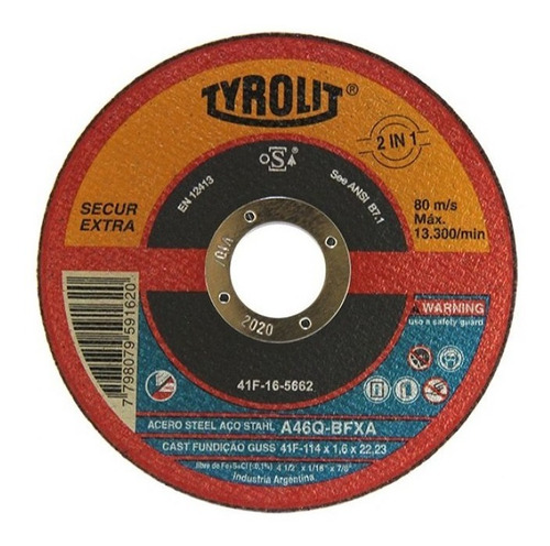 discos de corte tyrolit secur xtra 114x1,6mm x 25un. oferta!