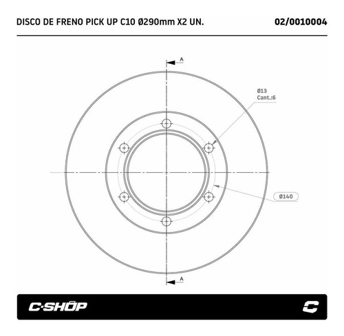 discos de freno chevrolet c10 6 agujeros macizos c-shop