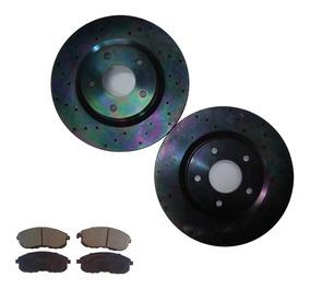 FRONT KIT 1683 Platinum Hart *DRILLED /& SLOTTED* Brake Rotors CERAMIC Pads