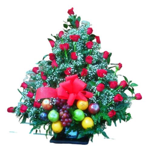 diselo con flores arreglos con frutas rosas