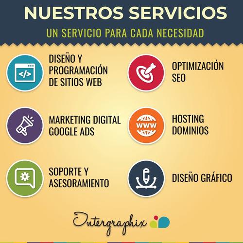 diseñamos tu página web, autoadministrable, hosting, dominio