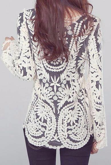la compra auténtico más fotos buscar auténtico Diseño. Blusa Encaje De Ganchillo. Mujer. Remera. Camiseta