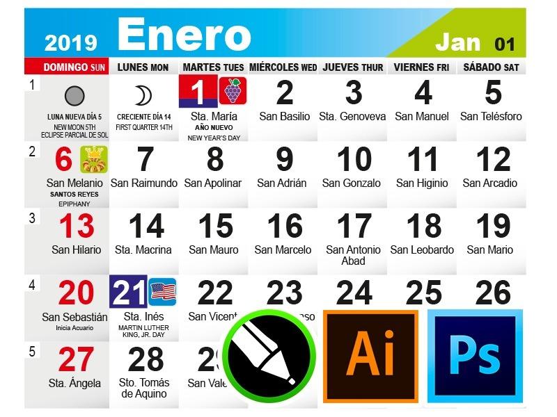Calendario Con Santos.Calendario Mensual 2019 Seattlebaby Co