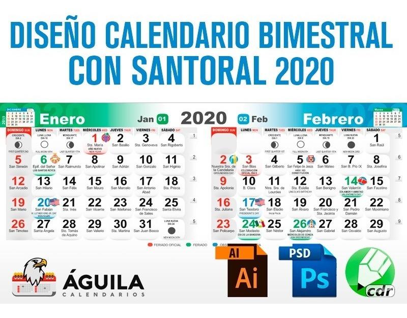 Calendario 2020 Con Foto Gratis.Diseno Calendario 2020 Bimestral Con Santoral
