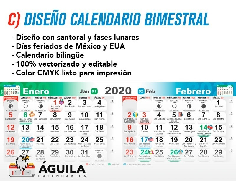 Calendario 2020 16.Diseno Calendario 2020 Santoral Mensual Bimestral Bolsillo