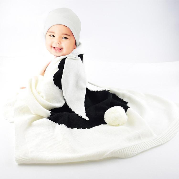 Diseño Conejo Oreja Estereoscopica Manta Punto Baby Blue