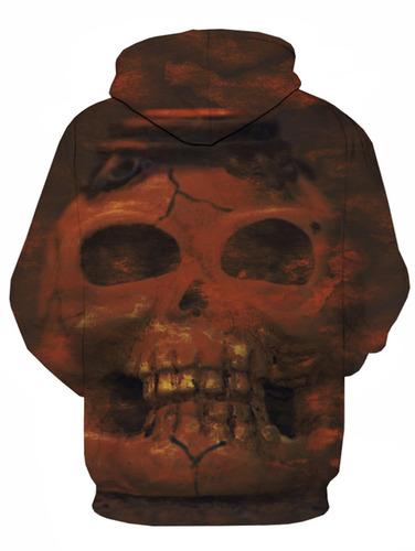 diseño creativo 3d cráneo impresión jersey capucha cadera