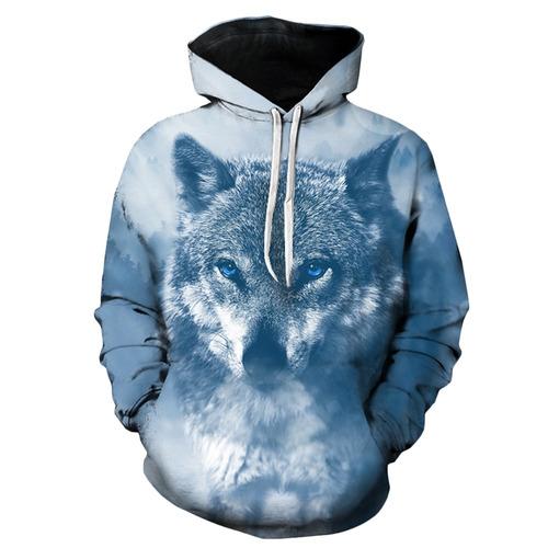 diseño creativo encapuchado 3d lobo impresión jersey capuc