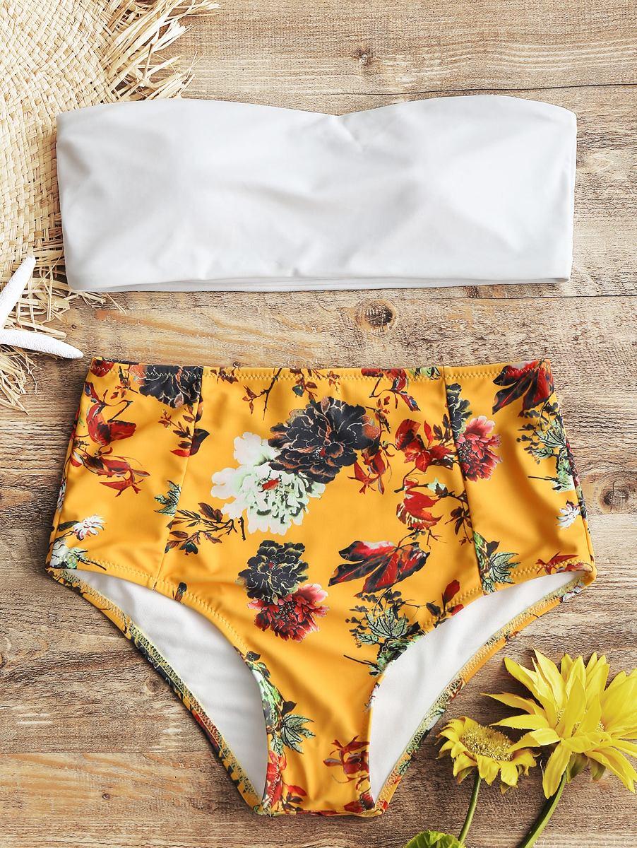 0699e1349 diseño creativo sin tirantes floral alto subir traje baños. Cargando zoom.