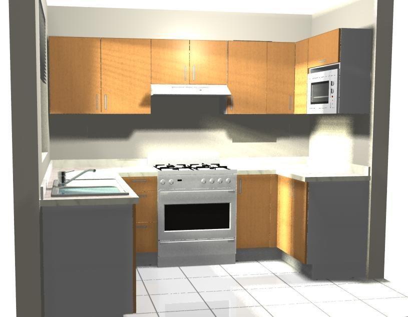 Dibujo De Cocinas Cocina Abierta Al Saln Con Mesa Adosada