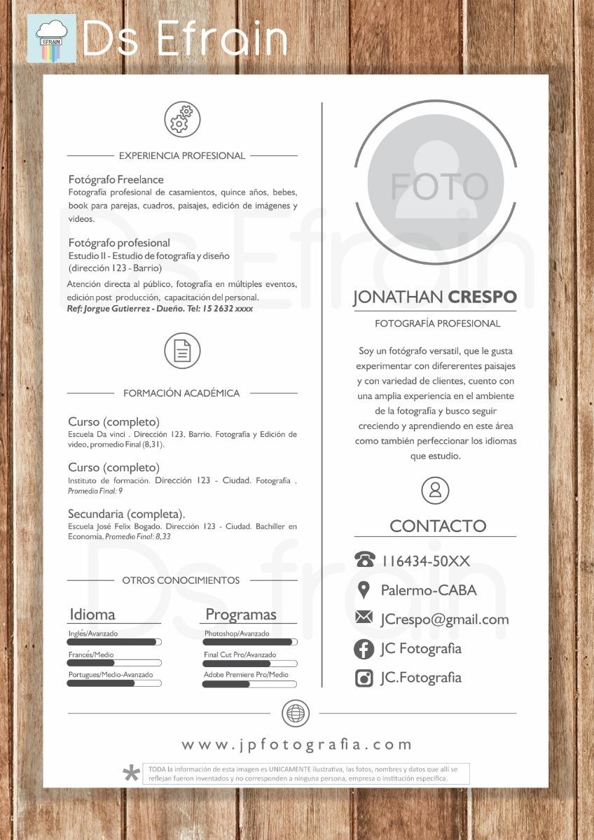 Diseno De Curriculum Vitae 100 00 En Mercado Libre