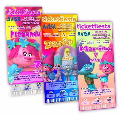 diseño de invitaciones imprimibles trolls