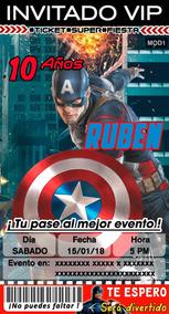 Diseño De Invitaciones Personalizadas Capitan America