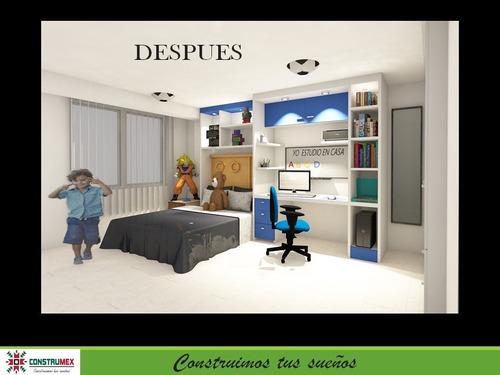 diseño de muebles y espacios para  que estudien los niños