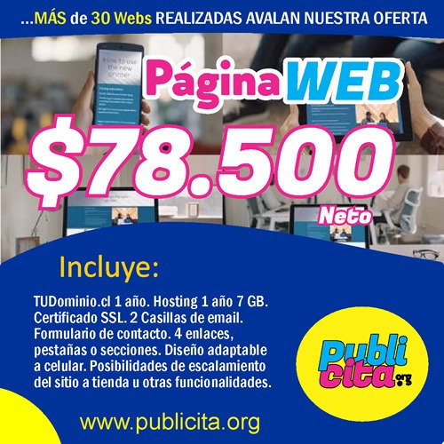 diseño de pagina web, dominio.cl y hosting gratis