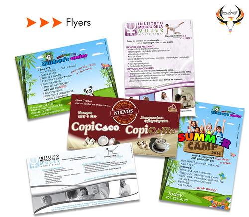 diseño de tarjetas volantes empaques tripticos papelería