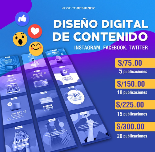 diseño digital para fb, instagram, twitter.