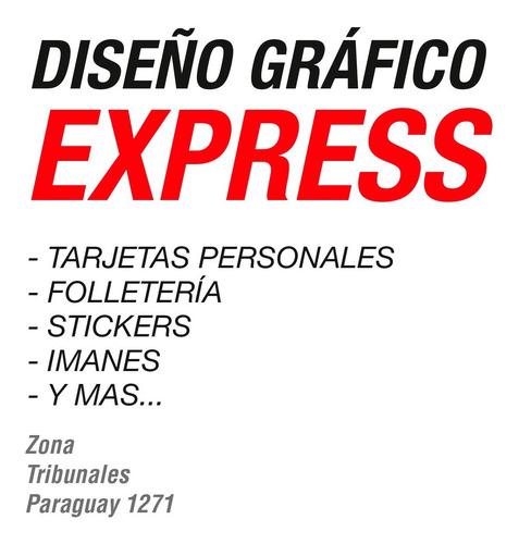 diseño gráfico express - tarjetas personales folleteria etc