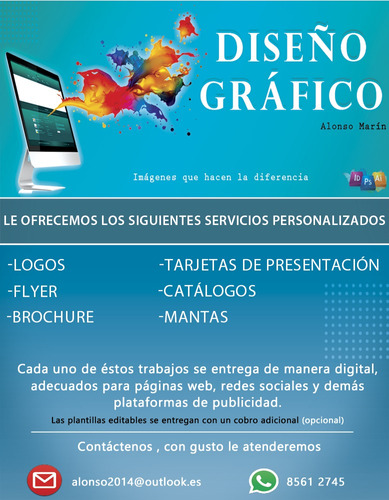 diseño gráfico personalizado(logos,afiches,brochure y mas)