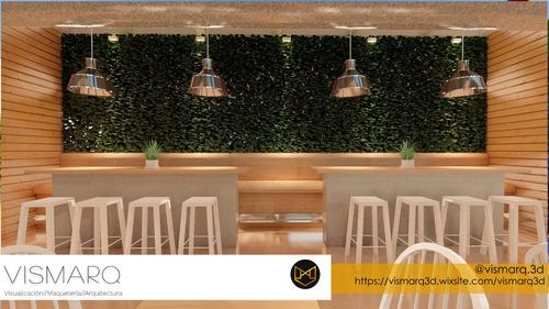 diseño interior render 3d rest. bar almacen oficina