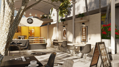 diseño interior render 3d restaurante local café oficina.