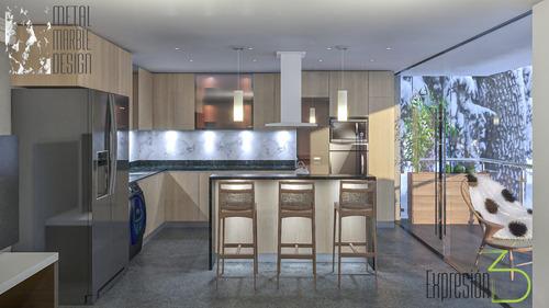 diseño modelado 3d render mobiliario melamina-metal