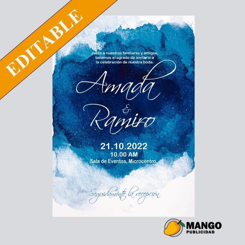 Diseño Tarjeta Invitacion Boda Digital Para Imprimir