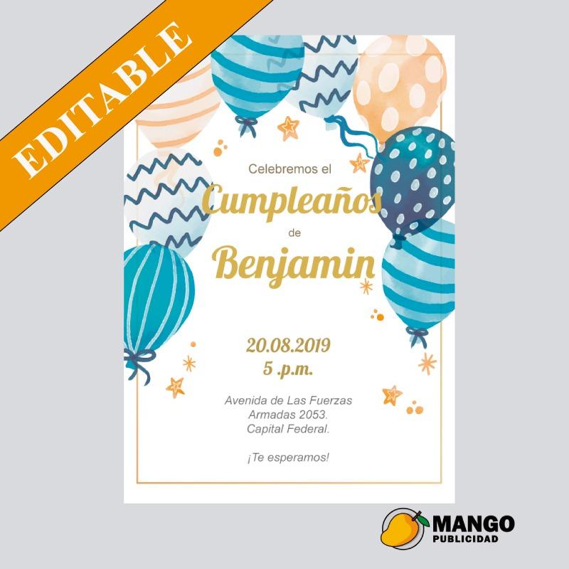 Diseño Tarjeta Invitacion Cumpleaños Digital Para Imprimir