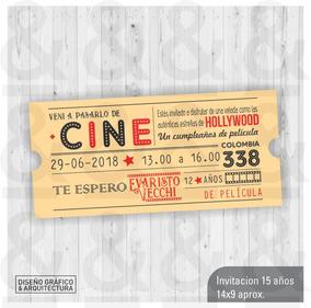 Diseño Tarjeta Invitación Imprimible Entrada Para Cine