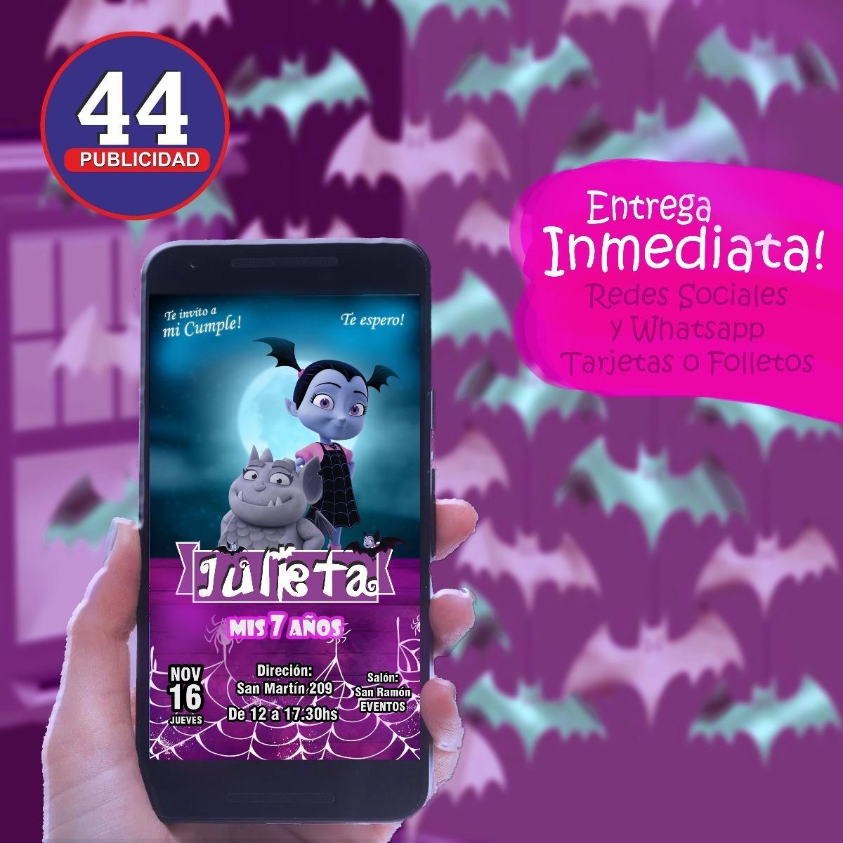 Diseño Tarjetas Invitacion Cumpleaños Vampirina Digital
