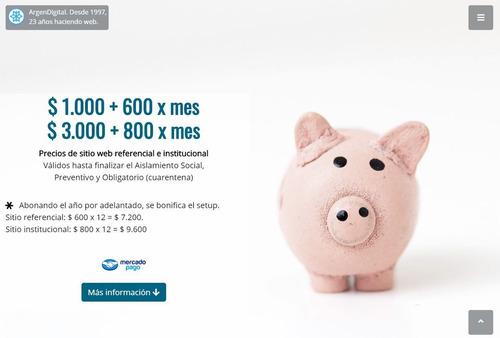 diseño web. $ 600 mensuales. pago único $ 1.000