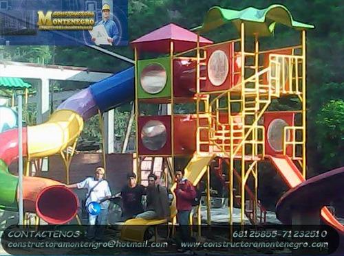 diseño y construcción de mega parques infantiles toboganes