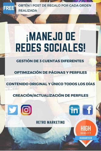 diseño y gestión de redes sociales / community manager / rm