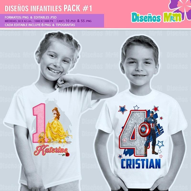 diseos de dibujos infantiles para estampar poleras pack n