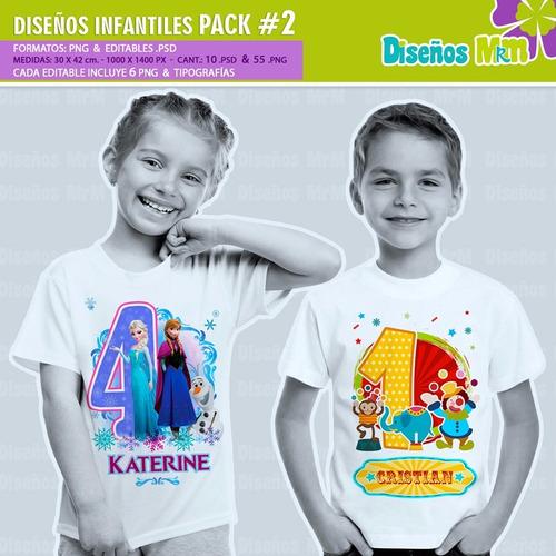 diseños de dibujos infantiles para estampar poleras pack n2