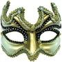 Masquerade Costume - Negro Oro Media Cara Ojos Máscara De L