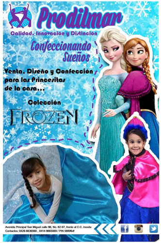 disfraces frozen (elsa, anna, fever) confecciones prodilmar