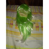 Peluca Verde Con Puntas Blancas 50 Cm Sintética / Fantasía