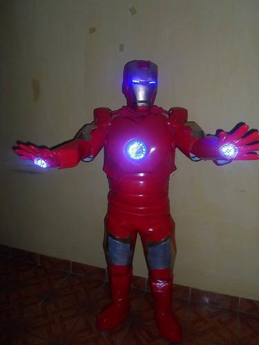 disfras de airon man con luces led para hora loca