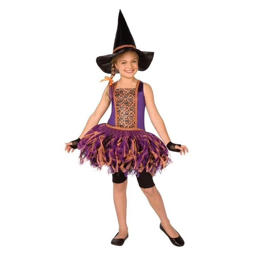disfraz 8 a 10 años vestido bruja brujita tutu niña