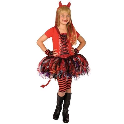 disfraz 8 a 10 años vestido diablita diabla tutu niña