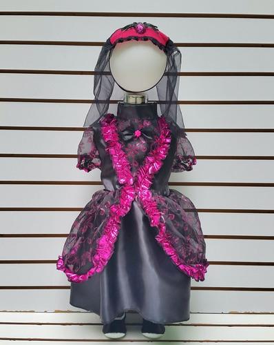 disfraz bebe 6/12 meses catrina vestido velo mallas hallowen