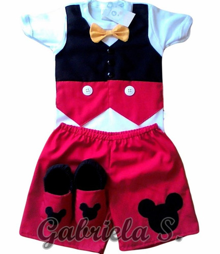 disfraz bebé mickey:remera chaleco+ short+ vincha