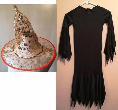 disfraz bruja con sombrero talla 8