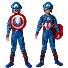 Disfraz Capitán América Musculoso Incluye Máscara Iluminada