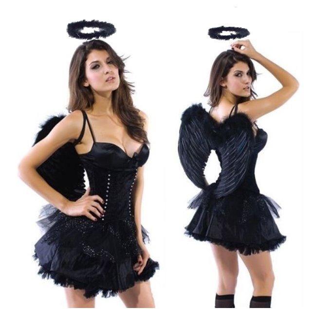 4b112975ff23 Disfraz De Angel Caido O Negro Con Aro Tutu Blusa Y Choker ...